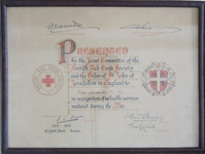 A certificate for a V.A.D Nurse from St. John's Jerusalem, Kent