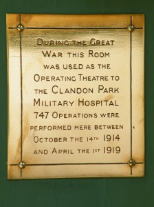 A plaque marking the use as Clandon Park as a Hospital with operating theatre